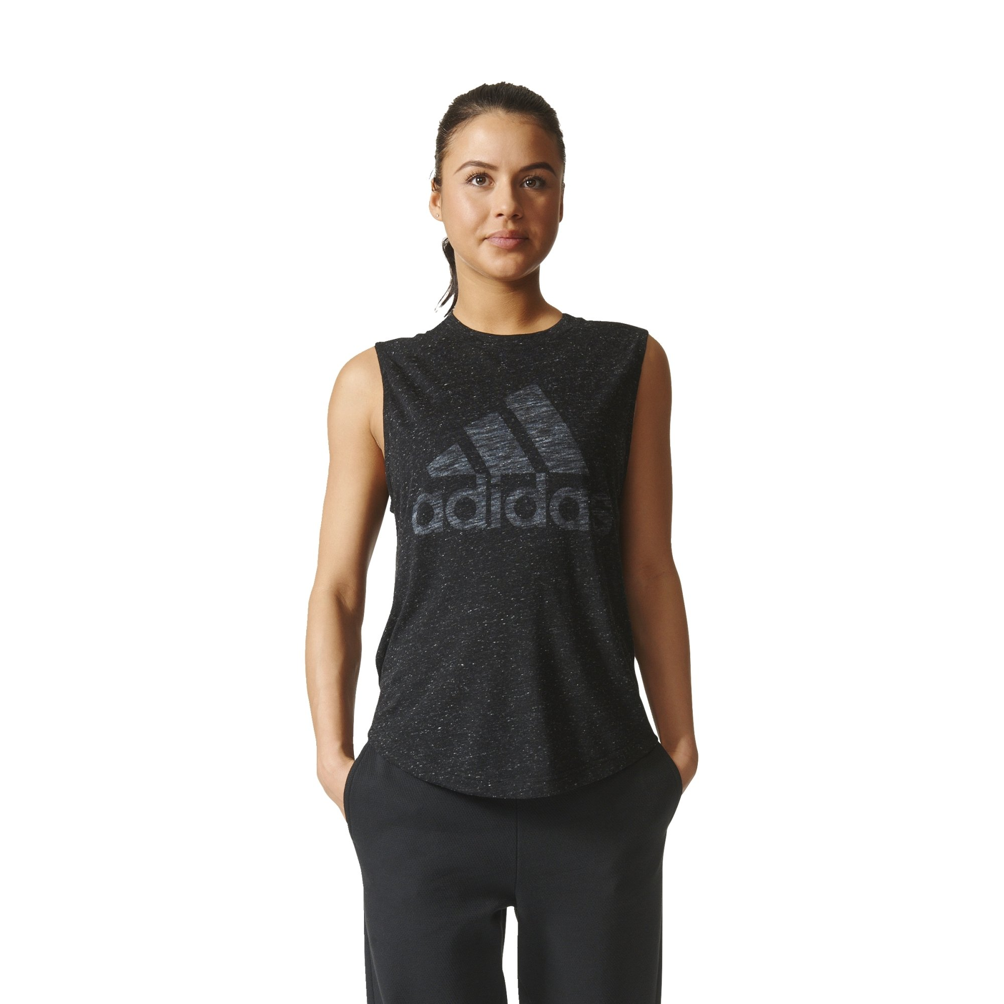 adidas Womens Athletics Graphic Drop Hem Muscle Tee, Black, Small