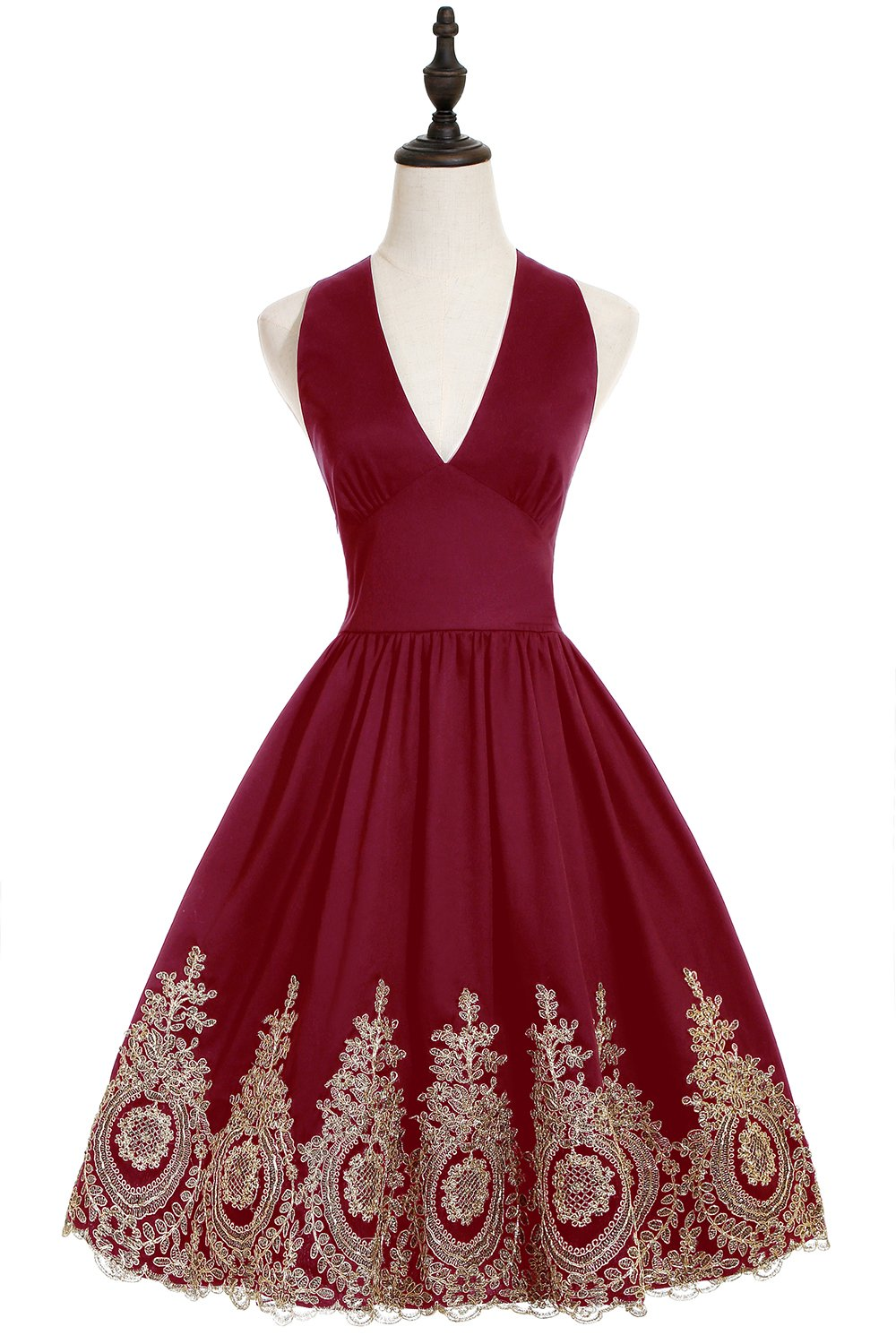 New Year Eve Christmas Party Dress 2019 Short Prom Dress Cocktail Bridesmaid Gowns With Gold Appliques Burgundy