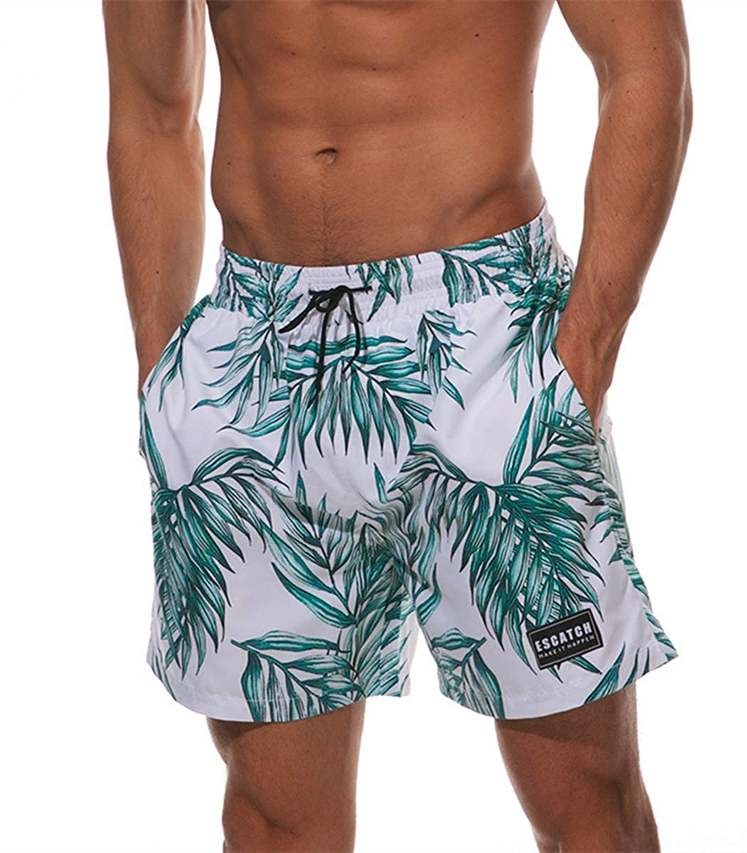 ESCATCH Swim Trunks for Men Summer Quick Dry Large Pocket Beach Shorts Flamingo Print