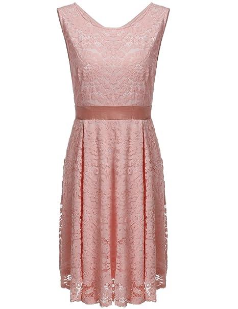 5e43c79d8e Meaneor Women s Round Neck Wedding Dress Midi Lace Party Cocktail Dress  Pink M