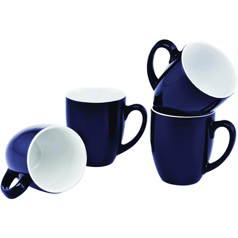 Culver 16-Ounce Bistro Ceramic Mug, Midnight Blue, Set of 4