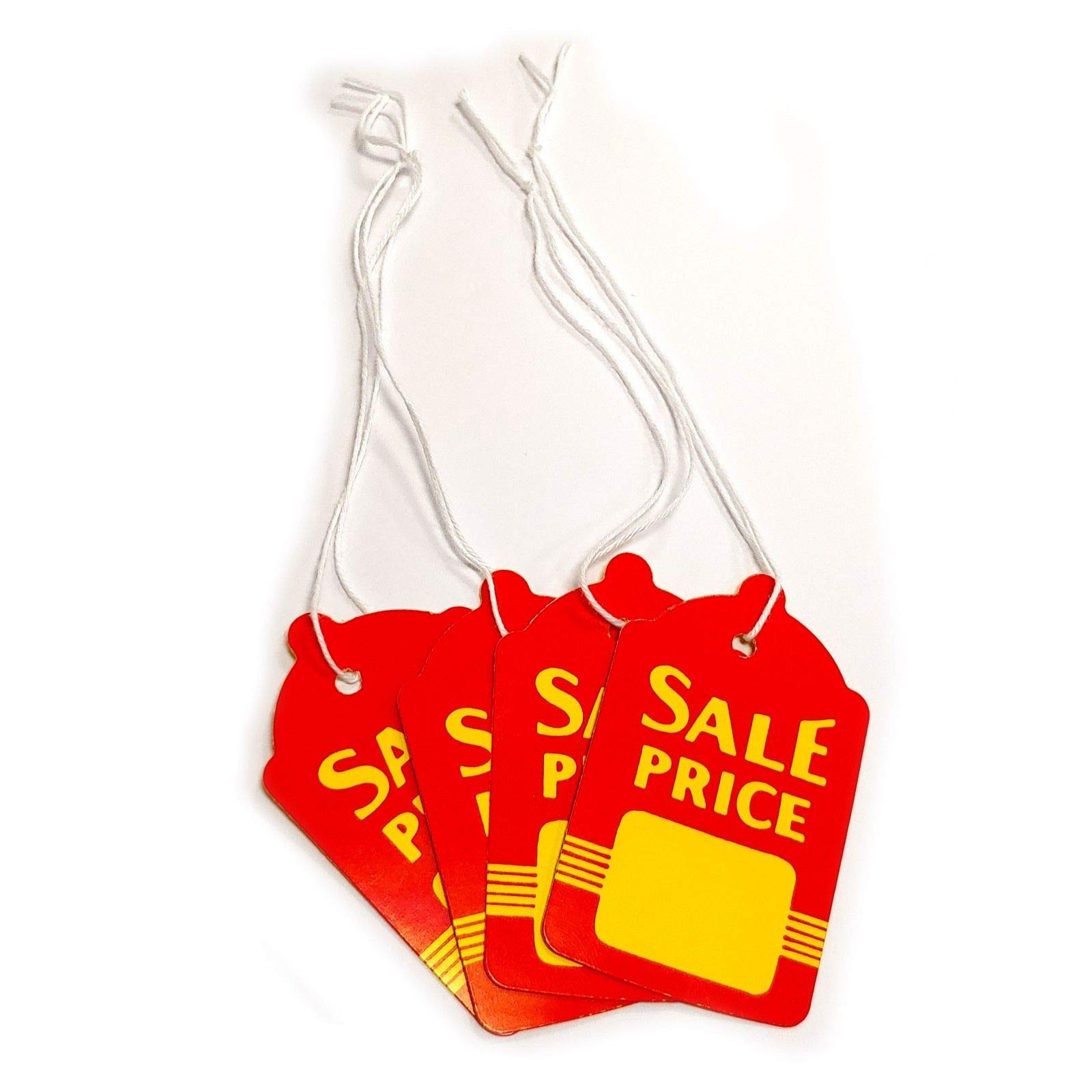 Large Red & Yellow Strung Boutique Sale Price Merchandise Tags: 1.6'' W x 2.7'' H, 200 Pack