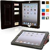 iPad 2 Case, Snugg™ - Executive Smart Cover With Card Slots & Lifetime Guarantee (Black Leather) for Apple iPad 2