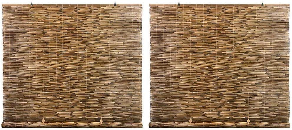 Radiance Cord Free, Roll-up Reed Shade, Natural, 72 x 72, Cocoa & Cord Free, Roll-up Reed Shade, Natural, 48 x 72, Cocoa