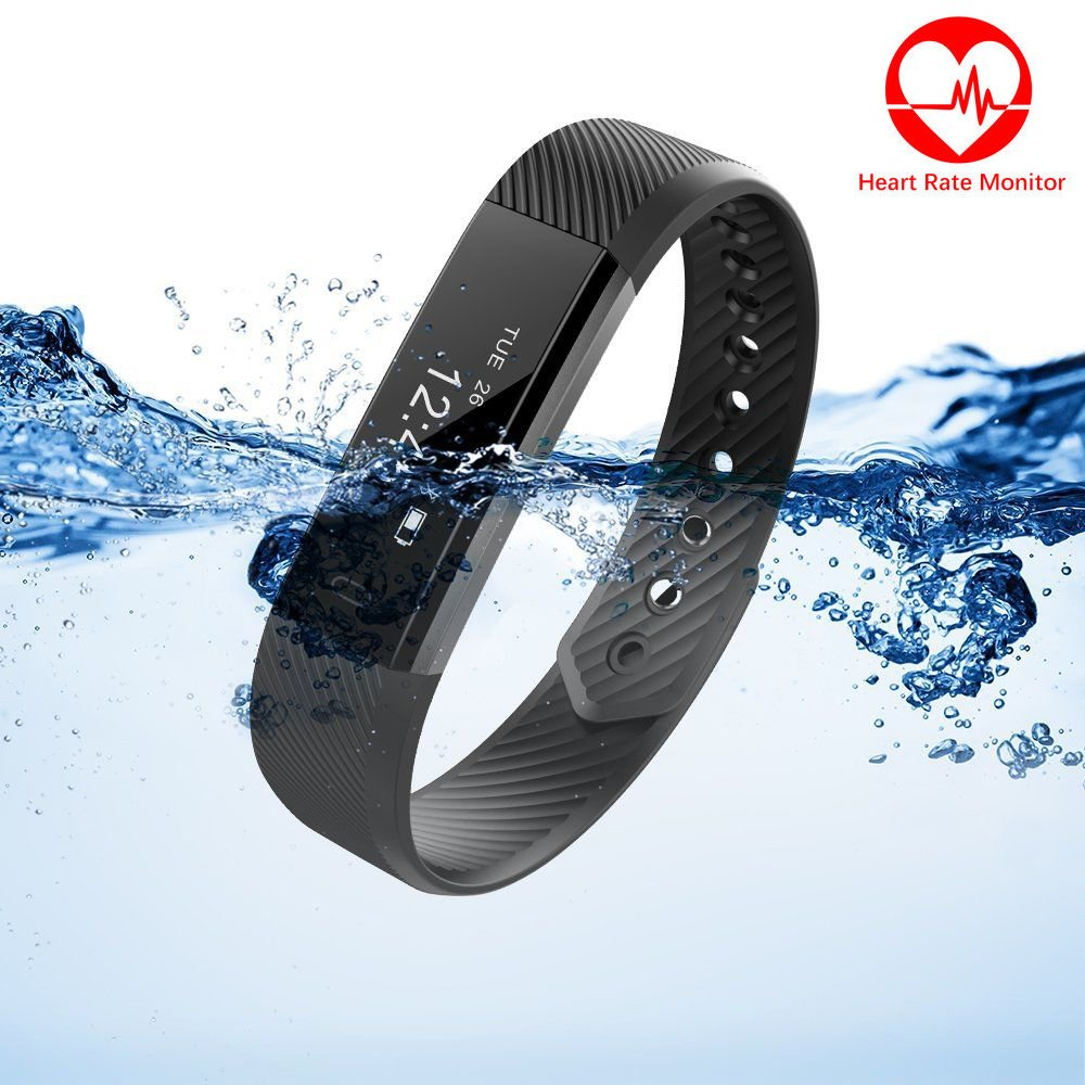 Marceloant Fitness Tracker, Heart Rate Smart Band for iPhone iOS and Android Phone (ID115HR-Black)