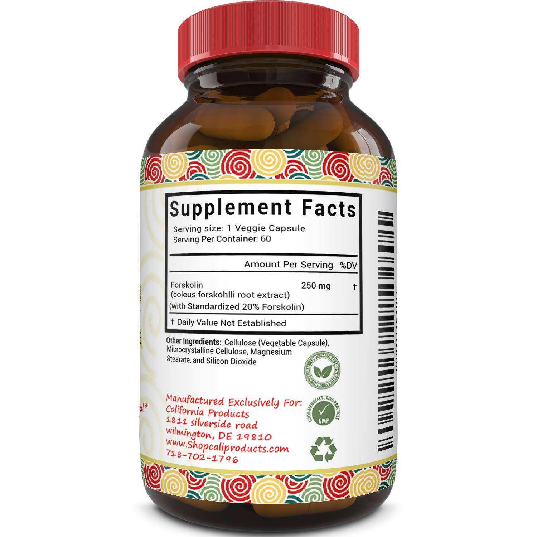 100% Pure Forskolin Extract 60 Capsules (Best Coleus Forskohlii on the Market) – Highest Grade Weight Loss Supplement for Women & Men – Standardized At 20%