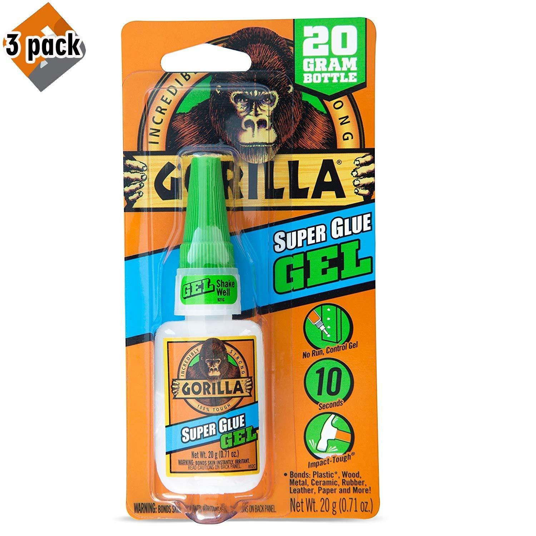Gorilla Super Glue Gel, 20 Gram, Clear - 3 Pack by Gorilla
