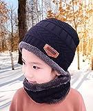 T WILKER 2Pcs Kids Winter Knitted Hats+Scarf Set
