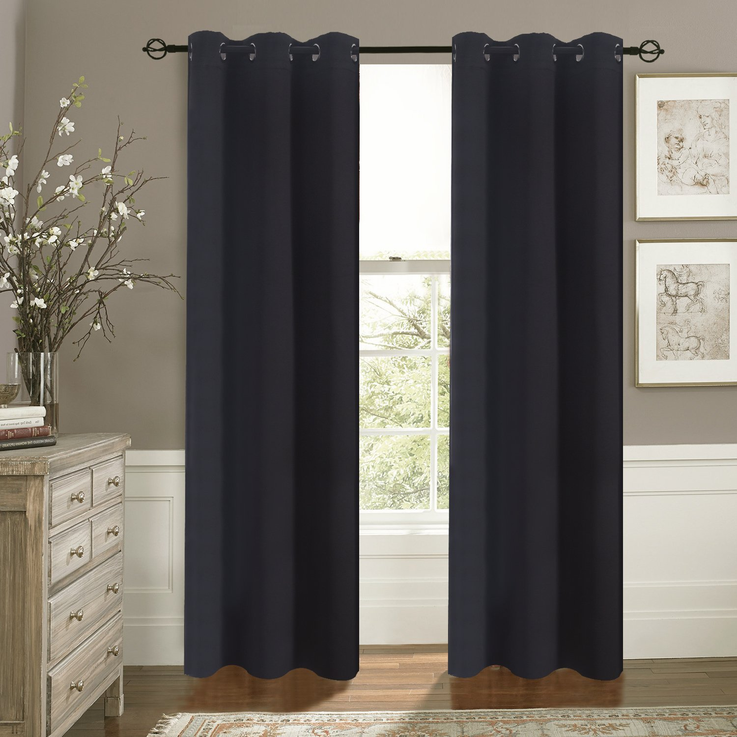 Bedroom Curtains Blackout Drapery Panels - Aquazolax Three Pass Microfiber Thermal Insulated Solid Ring Top Blackout Window Coverings/ Drapes