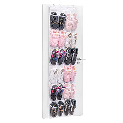 24 Pockets Over the Door Shoe Storage, MaidMAX Hanging Organiser/Organizer Shoe Racks Foldable Wardrobes Storage Bag with Hooks, Clear & White