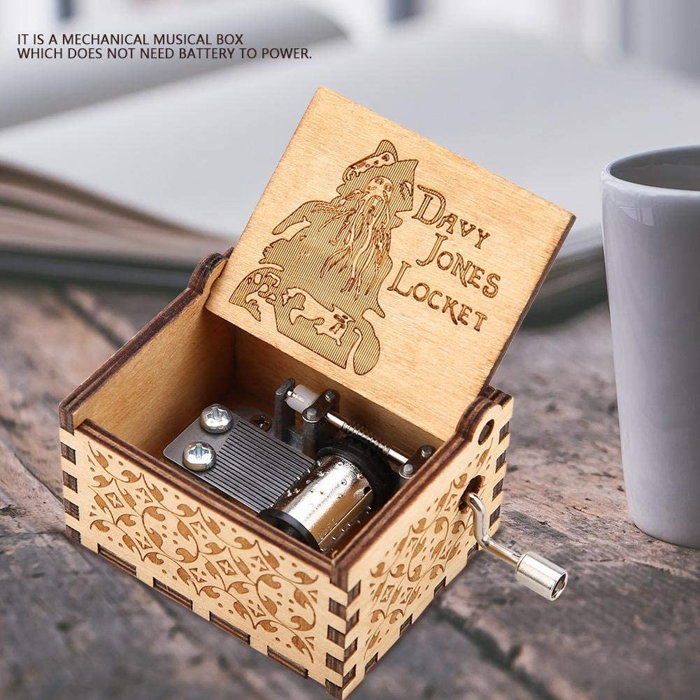 1 Wooden Music Box Hand Crank Carved Vintage Classic Mechanism Music Box for Home Decoration Birthday