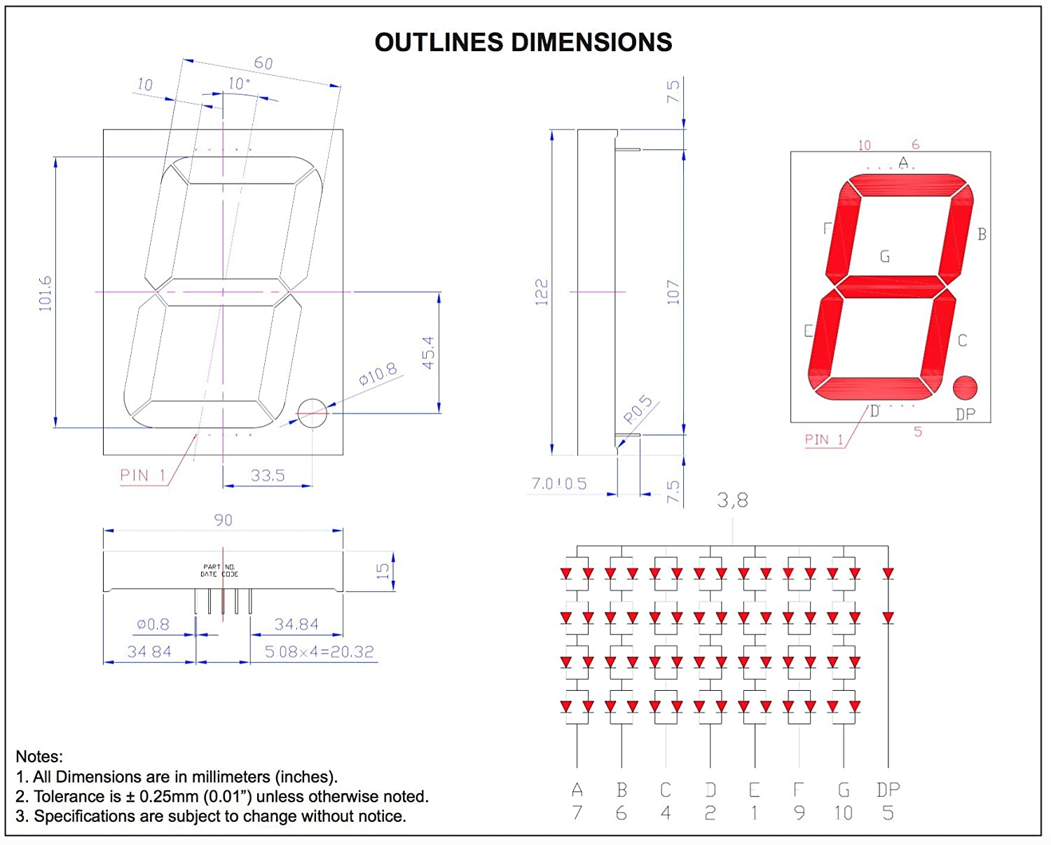 Large Seven Segment Display 4 Inch Digit Red Here Is The Schematic For 2digit 7segment Circuit Click Industrial Scientific
