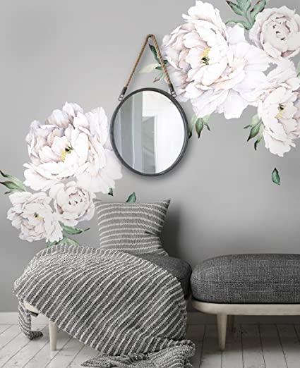 Simple shapes peony flowers wall sticker white by amazon simple shapes peony flowers wall sticker white by mightylinksfo