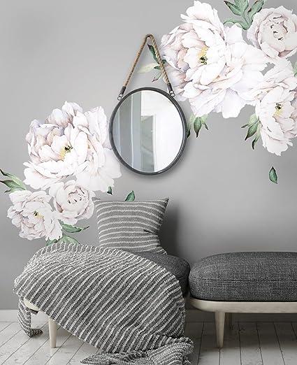 5e340fcf8da Simple Shapes Peony Flowers Wall Sticker - White - - Amazon.com