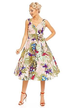 11686f3039ad 1950's Swing Pin Up Party Rockabilly Jive Dress Tropical Bird Paradise  Print: Amazon.co.uk: Clothing