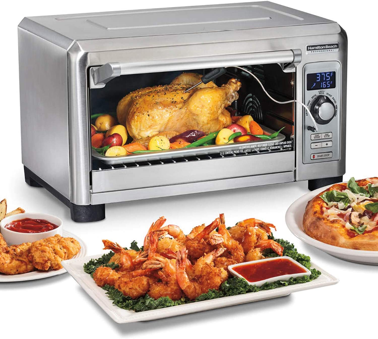 """Hamilton Beach Professional 31243 Sure-Crisp Digital Air Fryer Countertop Toaster Oven, 1500W, Fits 12"""" Pizza, 6 Slice Capacity, Temperature Probe, STAINLESS STEEL"""