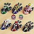 PantShop Mario Kart Cars Pull Backs Figure Set (6 pcs) and Keychains (2 pcs)