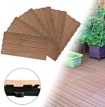 Froadp - Baldosas de plástico WPC, filtro de agua, baldosas para terraza y balcón, baldosas para jardín, aspecto de madera, aprox. 1 m², Marrón: Amazon.es: Bricolaje y herramientas