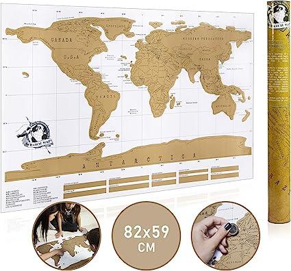 Mapa del mundo para frotar, mapa del mundo con rasguños, mapamundi ...