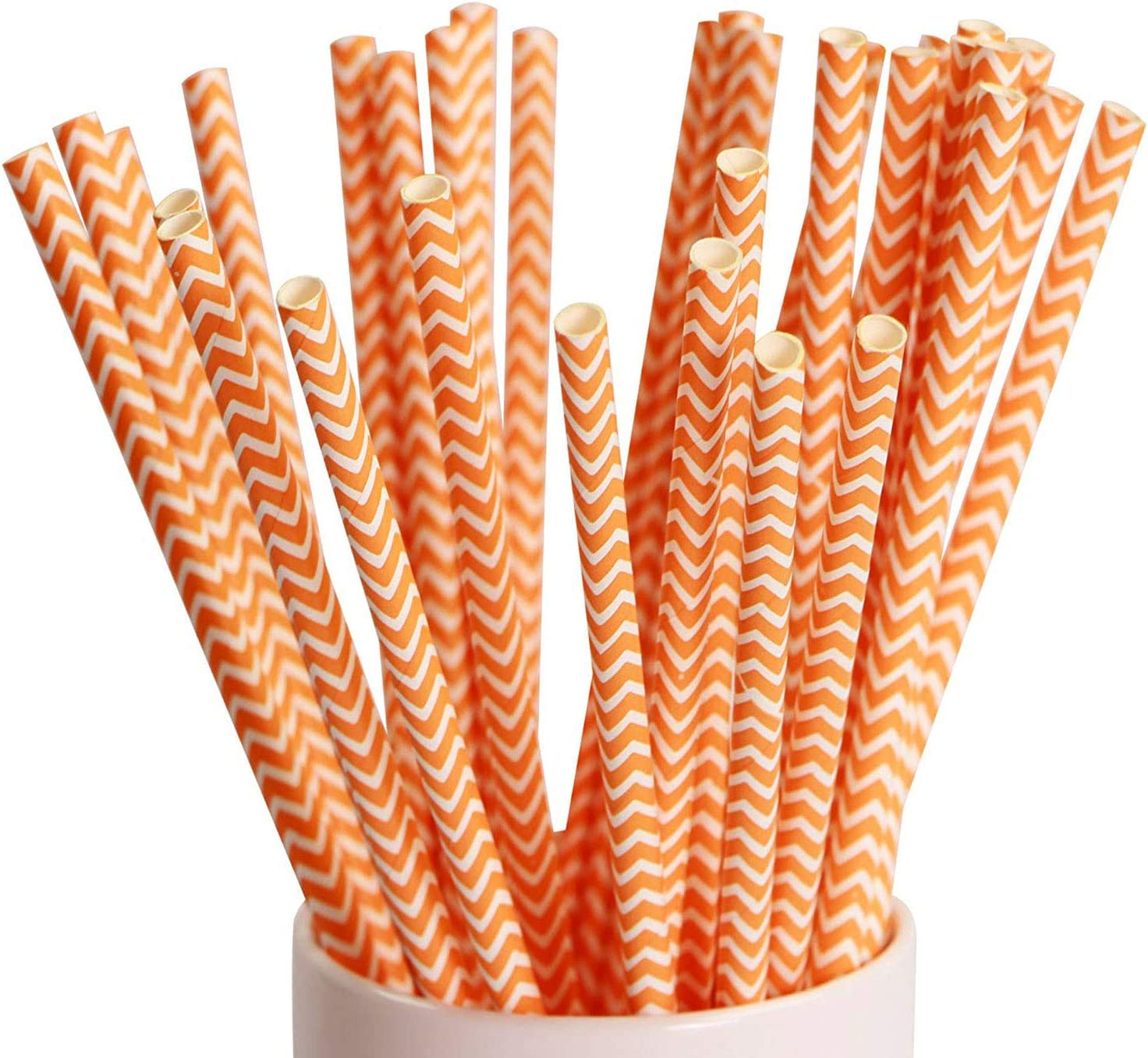 Webake 100 Pack Chevron Paper Straws Wave Patterned Drinking Straws Bulk 7.75 Inch Disposable Biodegradable Restaurant Supplies for Thanksgiving Table Decor Orange Striped