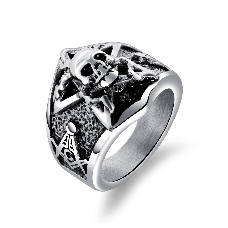 737e3783b8539 BABYEN Punk Style Skull Men Jewelry Rings 316L Stainless Steel Skeleton  Finger Ring Man Trendy Male Accessories Band Gift