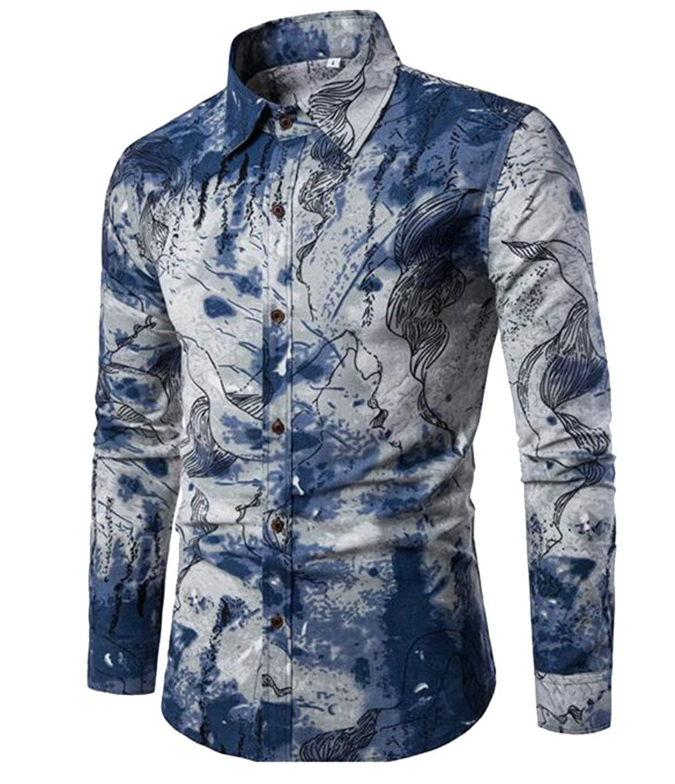 zhaoabao Mens Classic Long Sleeve Floral Print Button Down Lapel Shirt Tops