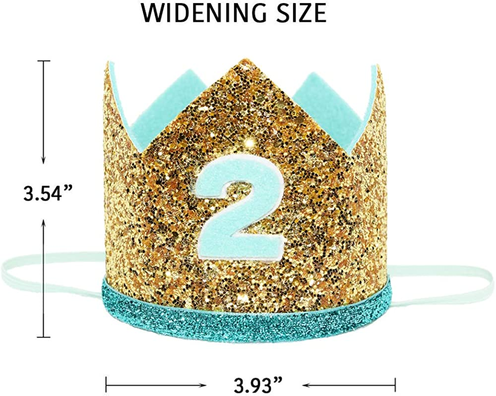 Amazon.com: Maticr - Diadema brillante de 2º cumpleaños con ...