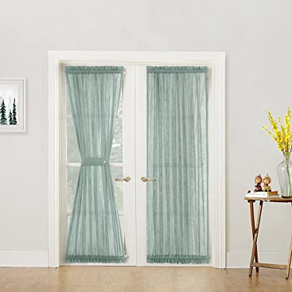 Linen Textured French Door Panels Privacy Sheer Curtains 72 Inch Length For Glass