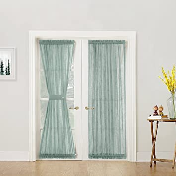 Amazoncom Linen Textured French Door Panels Privacy Sheer French