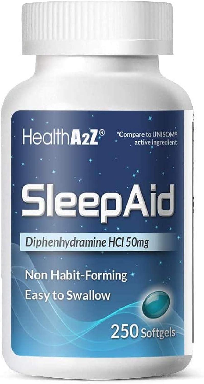 HealthA2Z Sleep Aid, Diphenhydramine HCl 50mg, 250 Softgels, Supports Deeper, Restful Sleeping, Non Habit-Forming