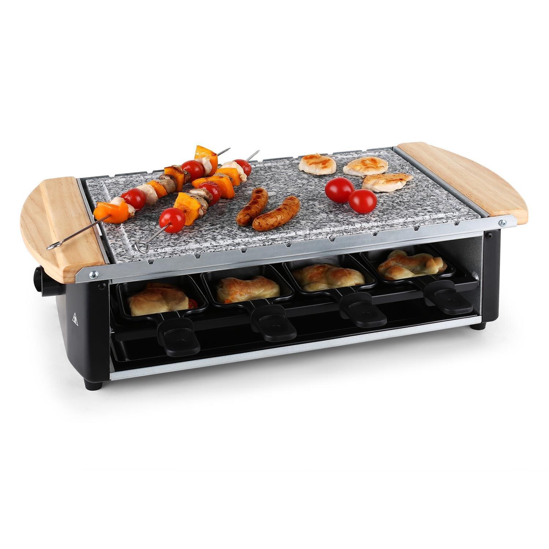 Klarstein Chateaubriand Raclette-Grill • Tavolo griglia • Griglia per feste • barbecue e fondue • 1200 W • Calore regolabile continuo • piastra in pietra naturale • Superficie smontabile • nero