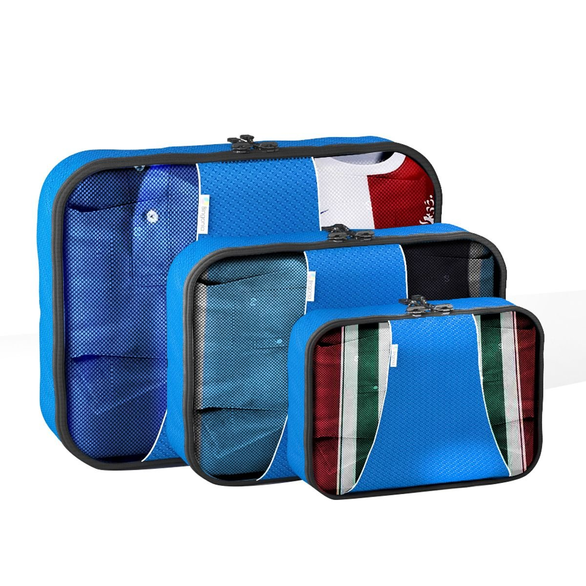 Blue By Bingonia Travel Accessories 4 pc Value Set Luggage Organizer Packing Cubes Bonus Shoe Bag Included Lifetime Guarantee
