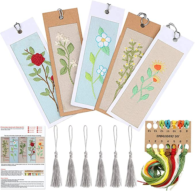 5 Pieces of DIY Bookmarker Metal aida Cross Stitch Kits Counted Cross Stitch kit Embroidery Bookmarker,DIY Special Bookmark Set of 5