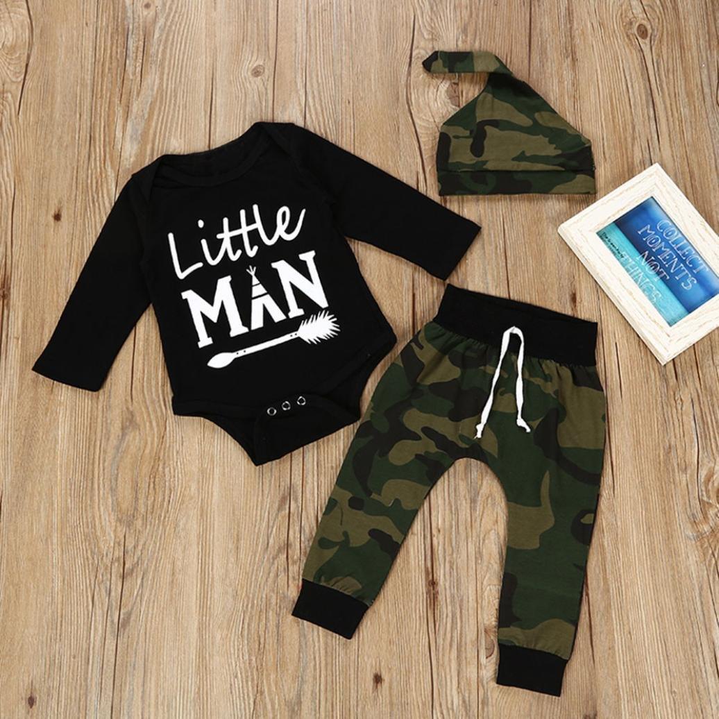 Newborn Baby Girls Boys Cotton Letter Print Romper Jumpsuit Camouflage Elastic Pants Casual Outfits 3PCS Set