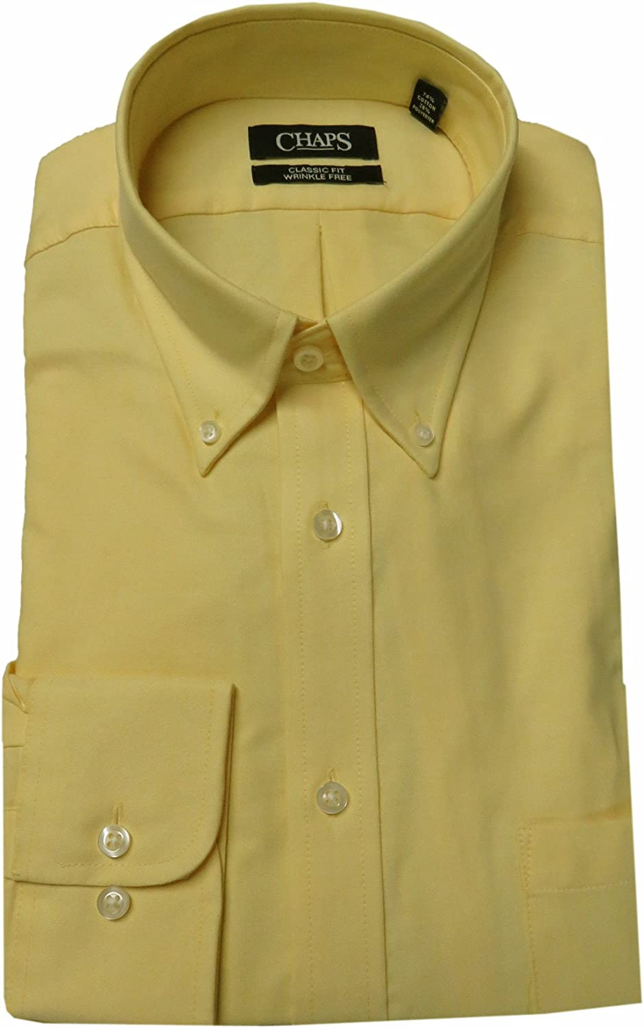 Chaps Mens Performance Classic-Fit Oxford Solid Dress Shirt 15-15.5 34//35, Canary