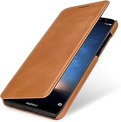 StilGut Book Type Case, custodia per Huawei Mate 10 Lite a libro booklet custodia orizzontale, cover apertura laterale in vera pelle, Cognac