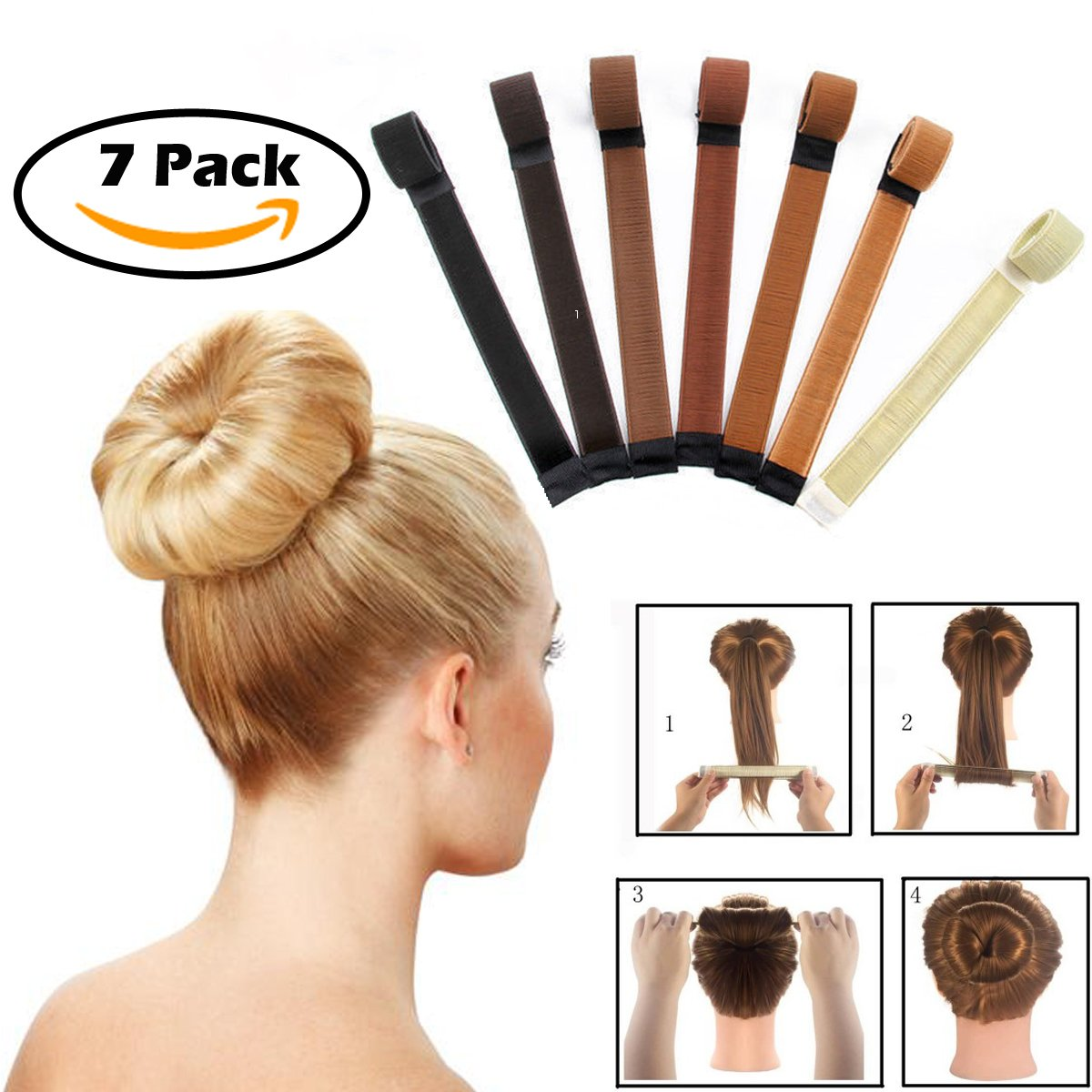 Magic Hair Donut Bun Maker Clip Instant Messy Hair Bun Making Styling Shaper Tool Fashion French Twist DIY Hair Band Accessory Set for Women Girls kids 7 Pack WZT01