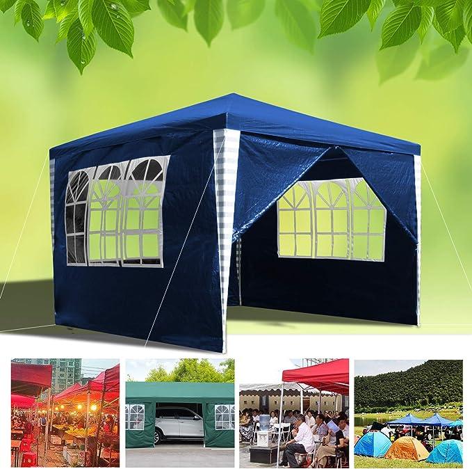 huigou 3x3m Carpas Pabellón Estable Carpa para Fiesta toldo Gazebo con 3 Ventanas y 1 Puerta con Cremallera terraza: Amazon.es: Hogar