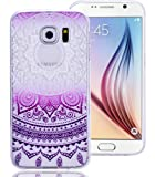Roreikes Coque pour Samsung Galaxy S6 Edge, Crystal Case Cover Silicone TPU avec Indian Sun Conception de couverture de cas couvertures clair transparent peau de couverture de protection de coque de protection pour Samsung Galaxy S6 Edge - Pourpre