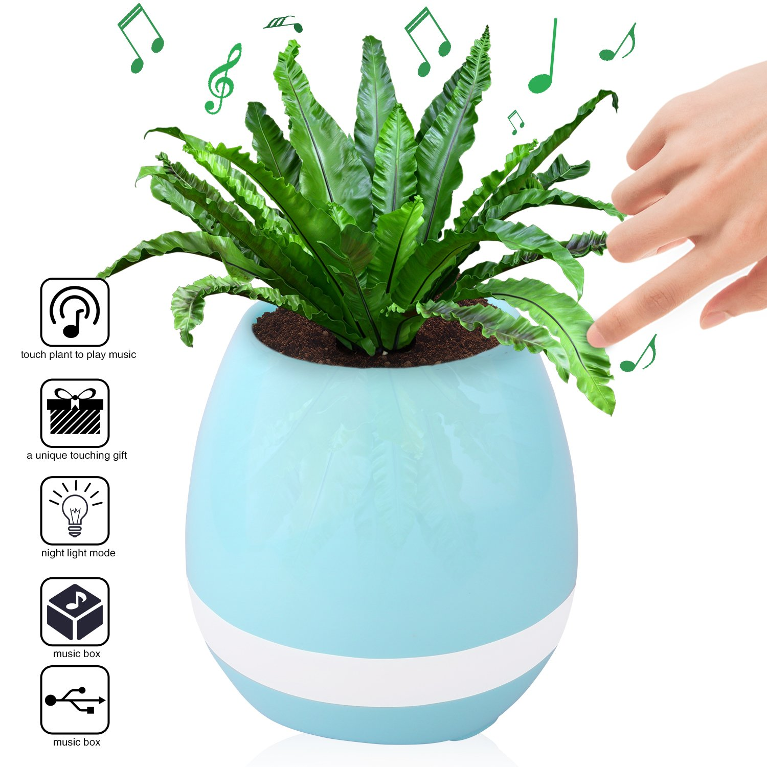 Music Flower Pots,Smart Music Plant Pot Music Playing Light Round Pot Rechargeable Wireless Playing Flower Pots(Without Plants) (Blue)