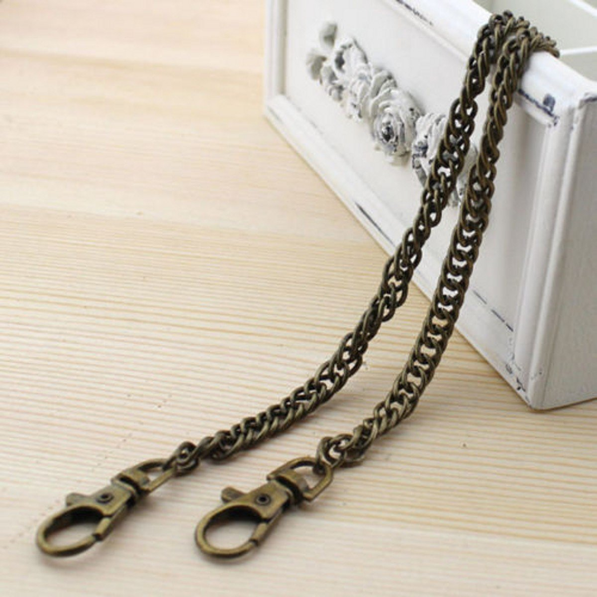 1 Piece Bag Metal Chain Strap Shoulder Strap Handbag Purse Handle 120CM Antique Brass