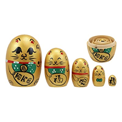 Ebros Gift Golden Maneki Neko Wooden Toy Stacking Nesting Dolls 5 Piece Parts Set Hand Painted Wood Decorative Collectible Matryoshka Doll Toys for Children Christmas Mother's Day Birthday Gifts: Home & Kitchen