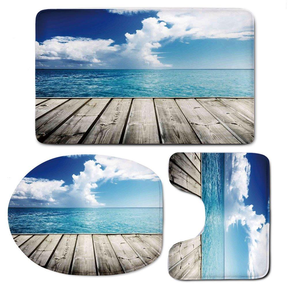 3 Piece Bath Mat Rug Set,Art,Bathroom Non-Slip Floor Mat,Image-of-Caribbean-Sea-from-Wood-Deck-with-Cloud-Sky-Landscape-in-Tropics-Print,Pedestal Rug + Lid Toilet Cover + Bath Mat,Turquoise-White-Brow