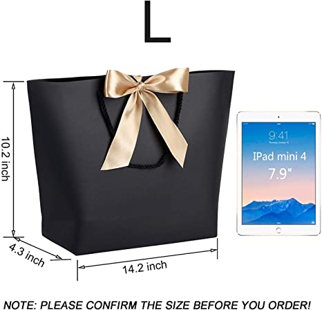 WantGor Gift Bags with Handles 14.2x10.2x4.3inch Paper Party Favor Bag Bulk with Bow Ribbon for Birthday WeddingBridesmaid Celebration Present