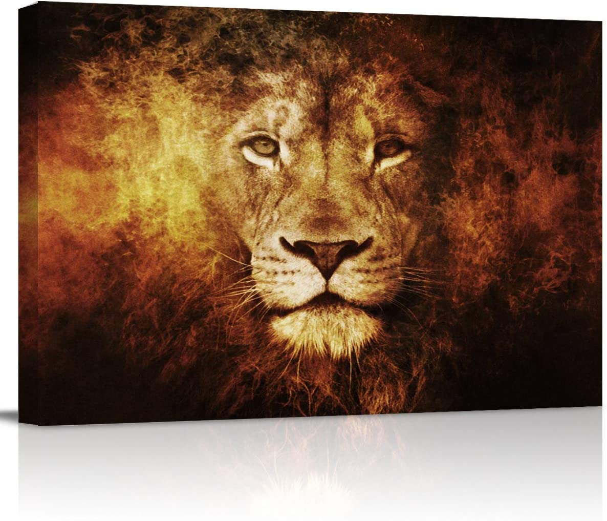 """Canvas Wall Art - Lion Head Portrait Animal Pattern - Modern Wall Decor Gallery Canvas Wraps Giclee Print Stretched and Framed Ready to Hang - 12"""" x 16"""""""