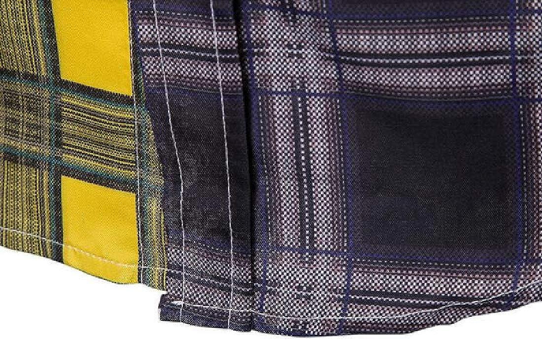 MOUTEN Mens Contrast Plaid Print Business Long Sleeve Button Up Dress Work Shirt