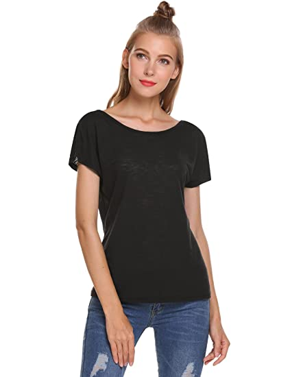 e44f623e cindere Women Short Sleeve T-Shirt Scoop Neck Sexy Backless Blouse Dolman  Tops at Amazon Women's Clothing store: