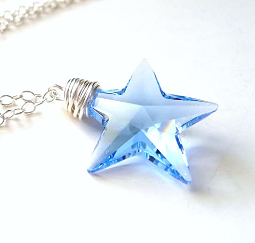 pendant crystal silver chain swarovski elements p star with blue