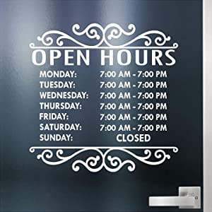 """Custom Business Hours Sign for Glass Door, Windows, Smooth Surfaces. Hours of Operation Sign. Open - Closed Store Hours Sign. (14"""" x 14"""") Style # 2 by Jeyfel Decals"""