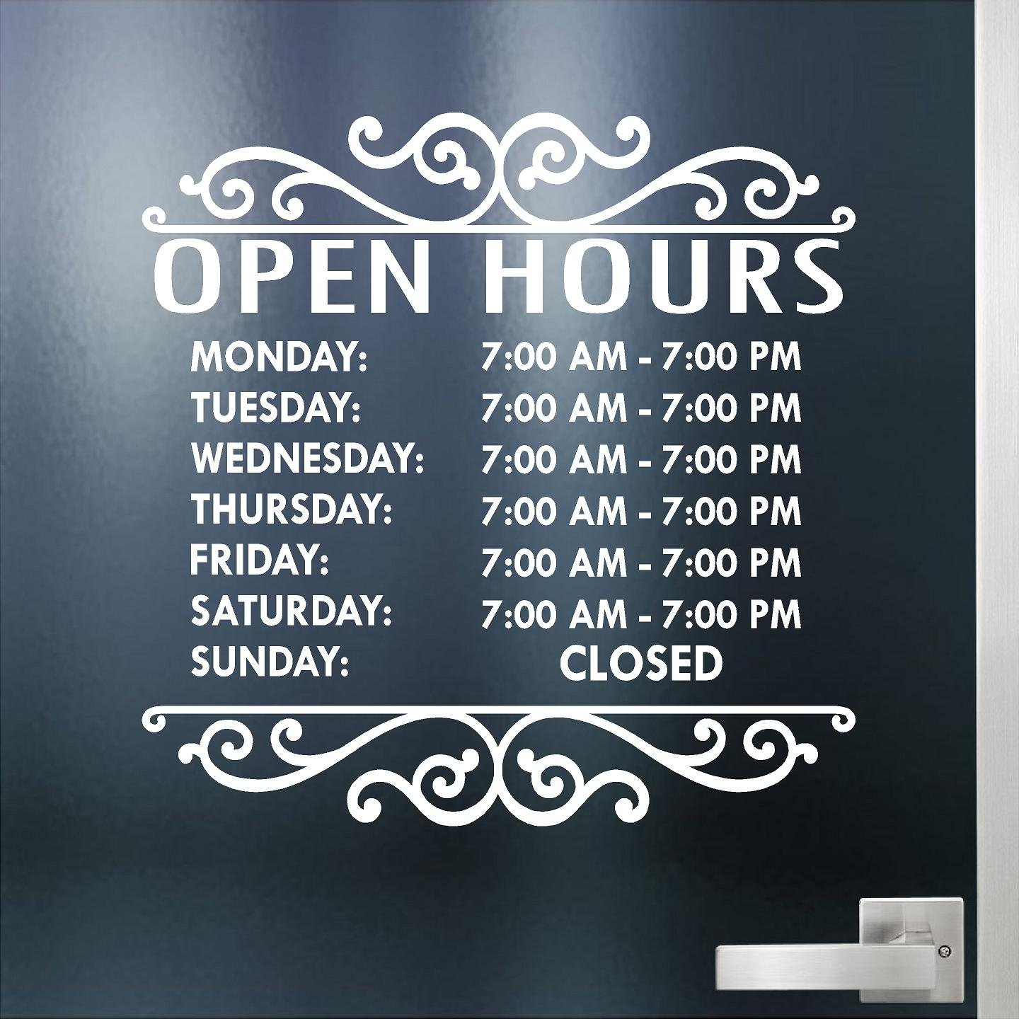 Glass Door Decals For Business.Custom Business Hours Sign For Glass Door Windows Smooth Surfaces Hours Of Operation Sign Open Closed Store Hours Sign 14 X 14 Style 2 By